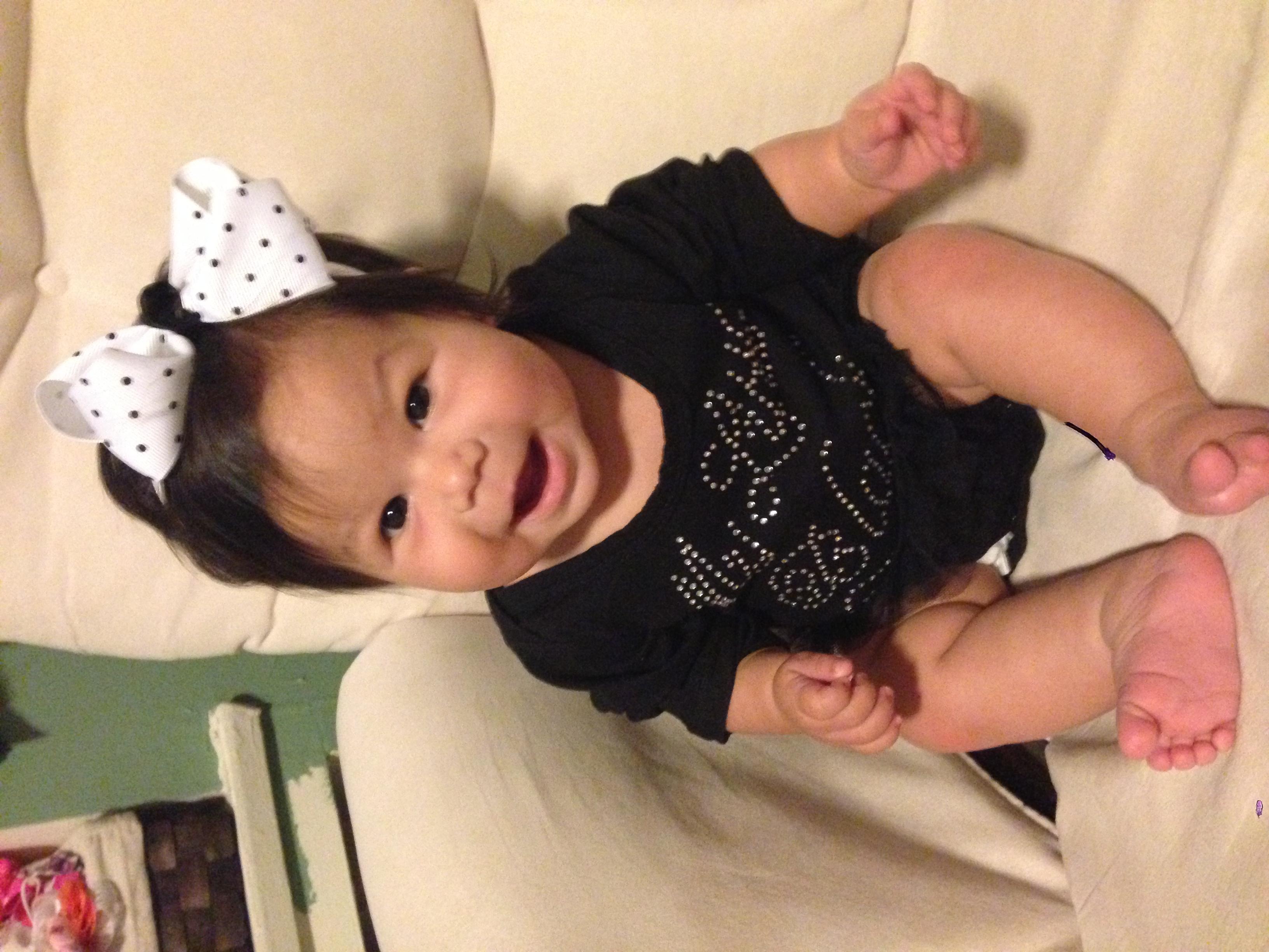 """27 weeks old wearing her """"little black dress"""" ;)"""