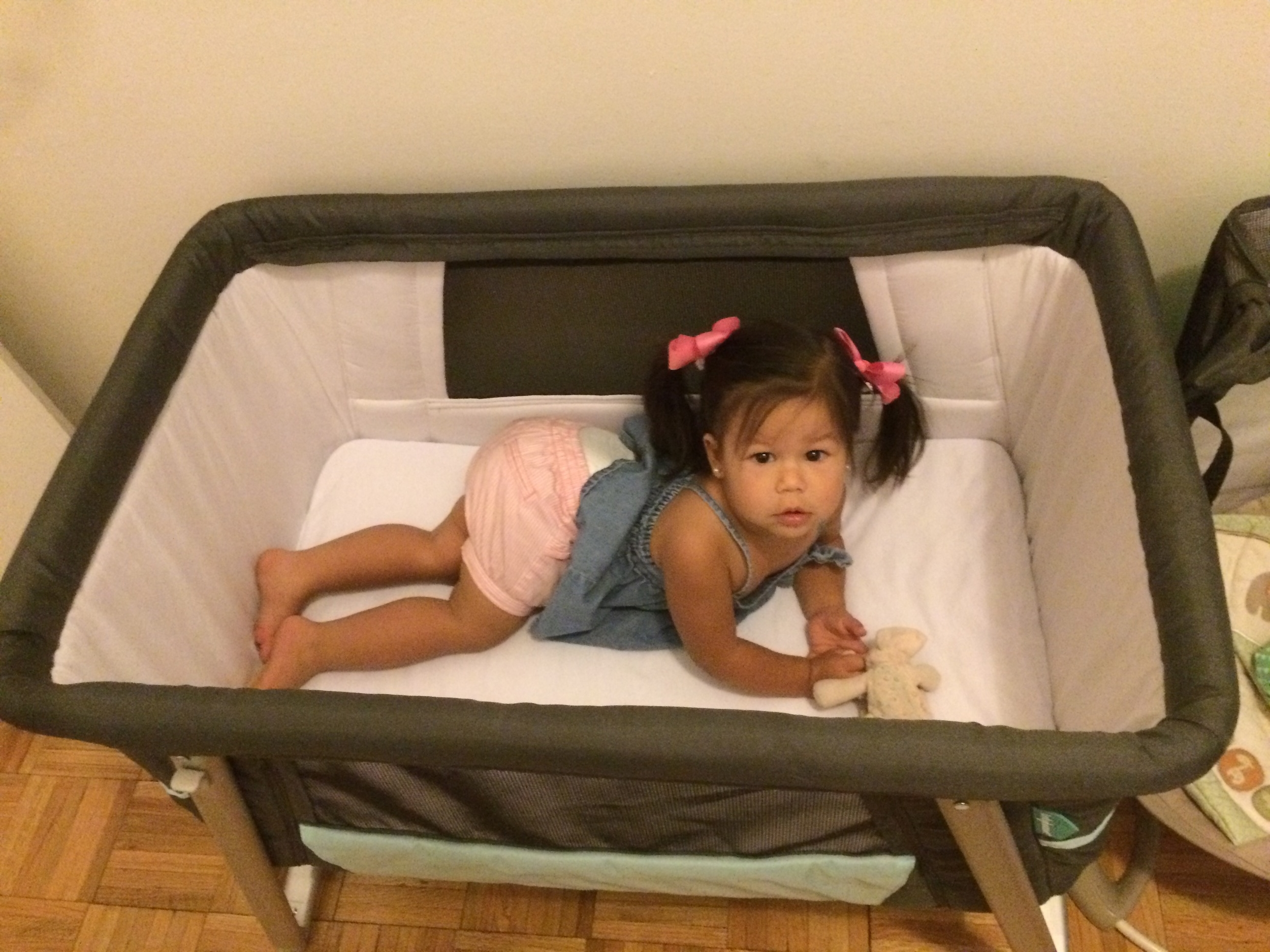 Trying out Fynn's new crib