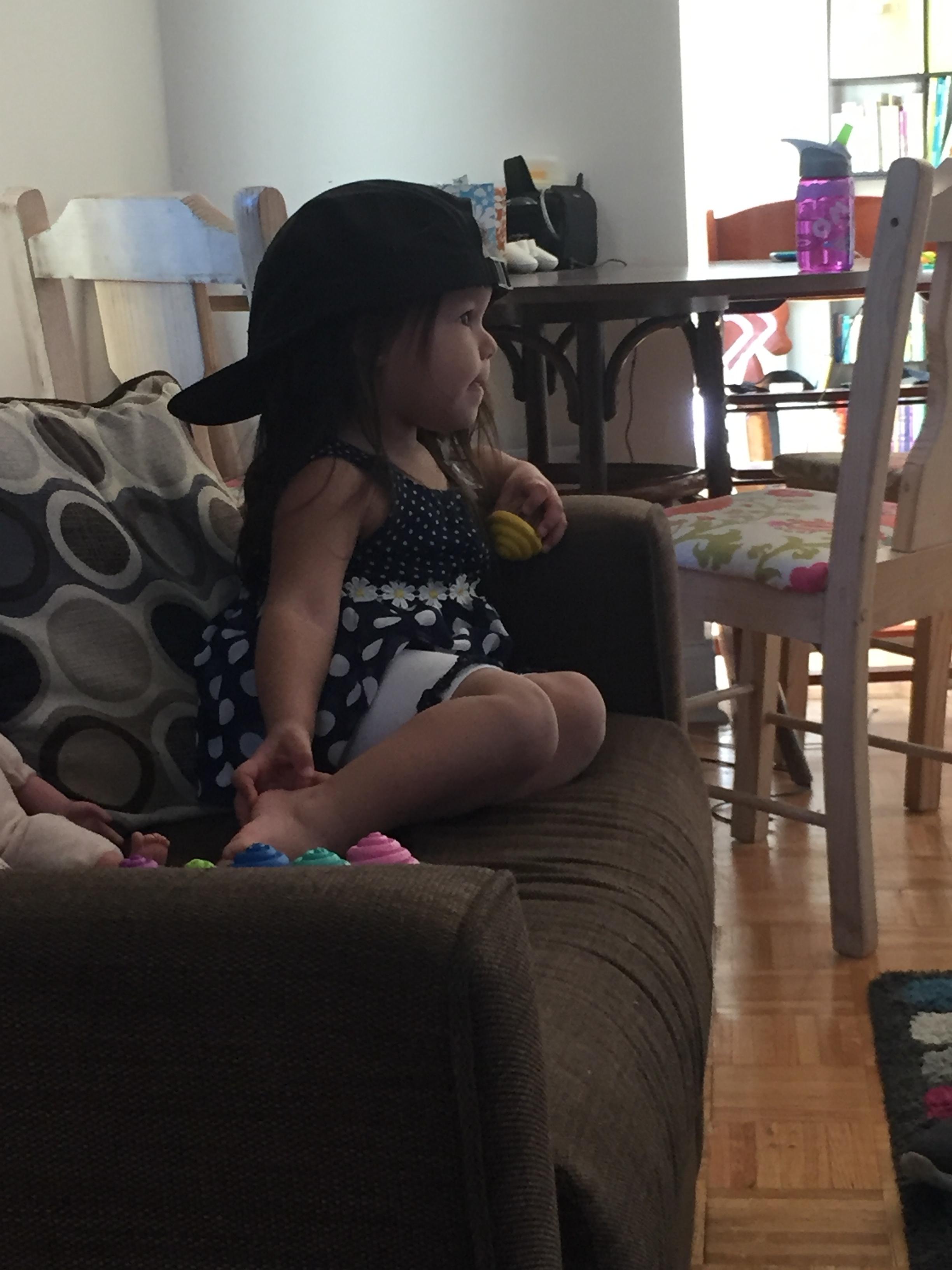 Wearing Papi's hat