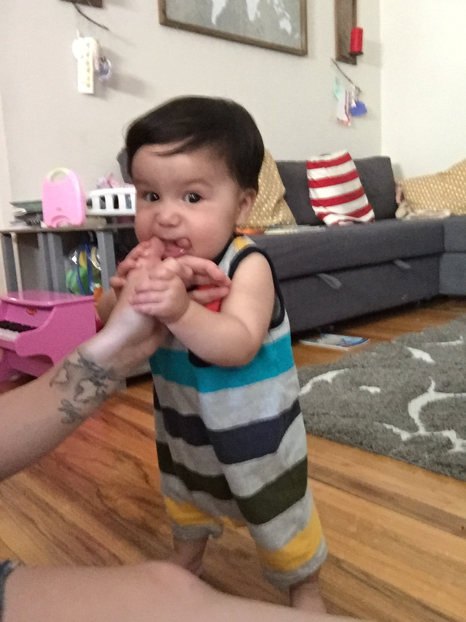 Teething and standing.