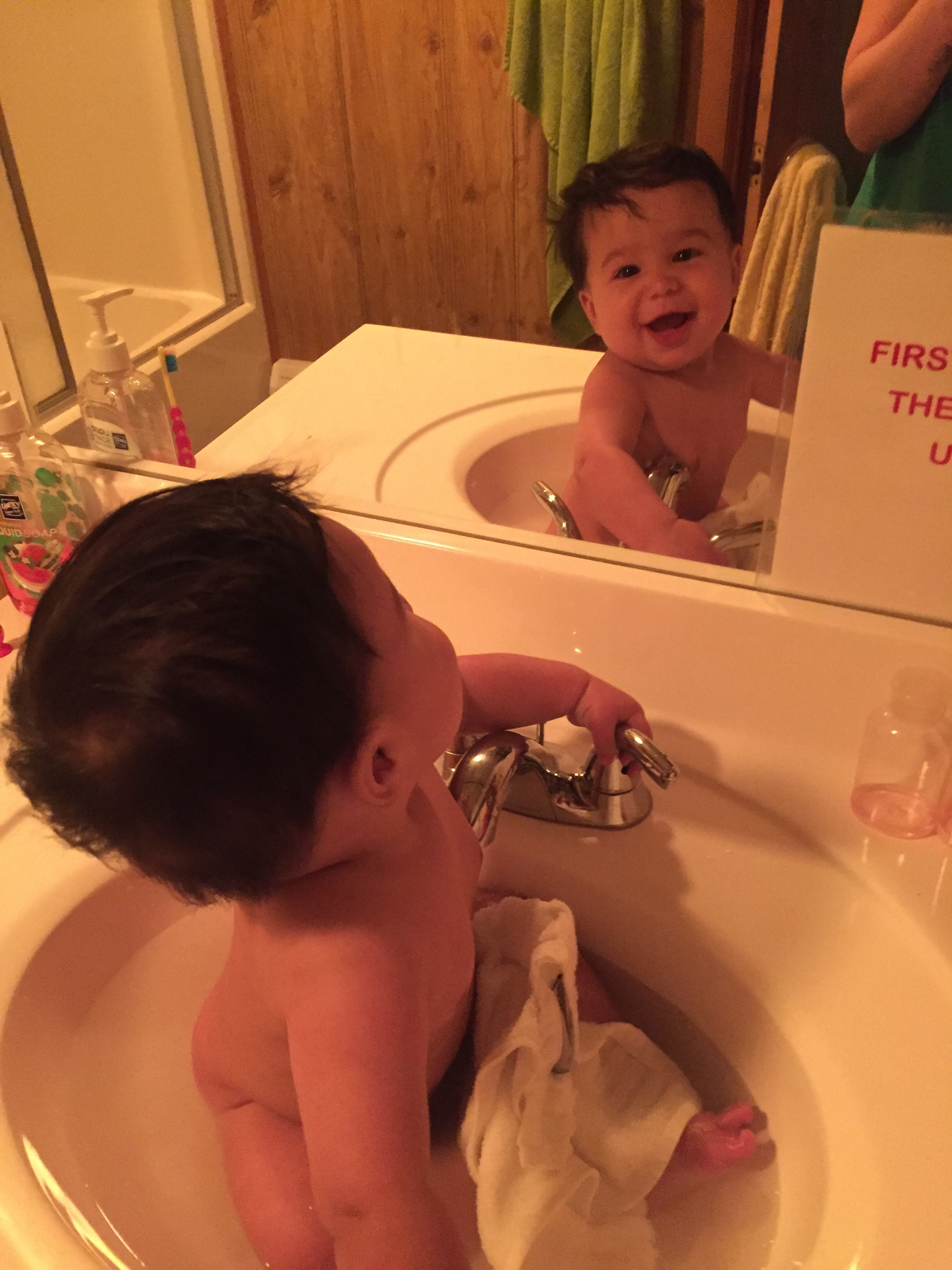 Baby in the sink!