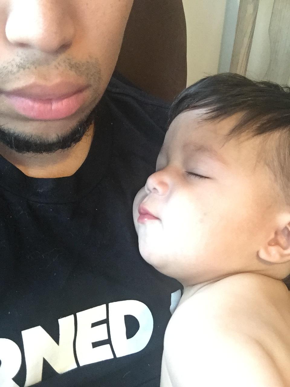 snuggling Papi