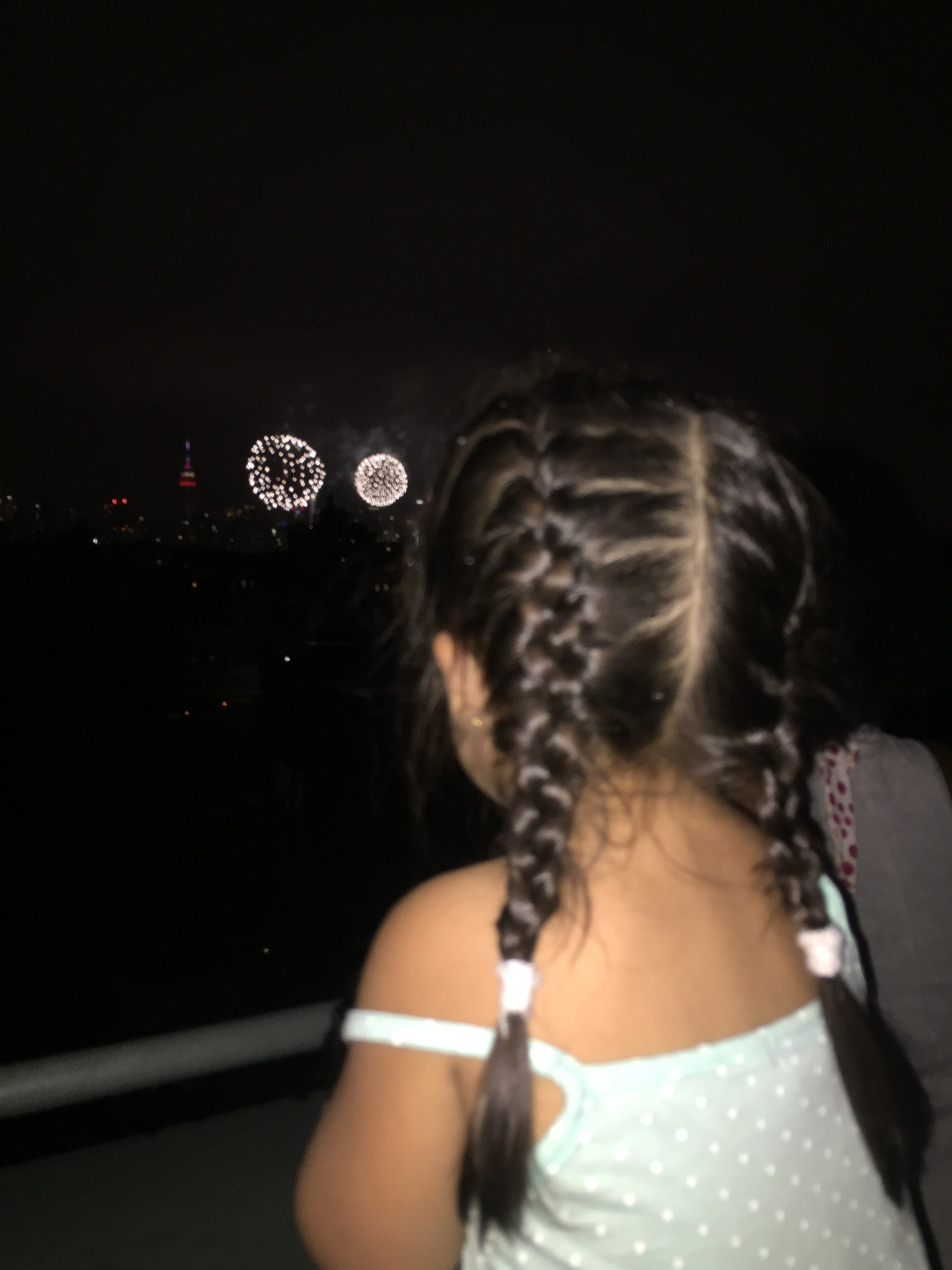 watching her first fireworks