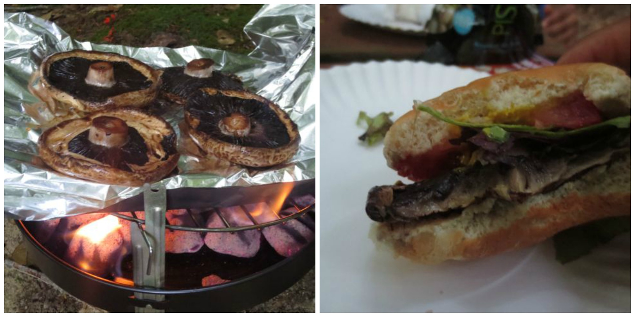 Portobello mushroom burgers using a store-bought marinade