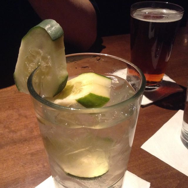 Infused water with gin for me...beer for Eric