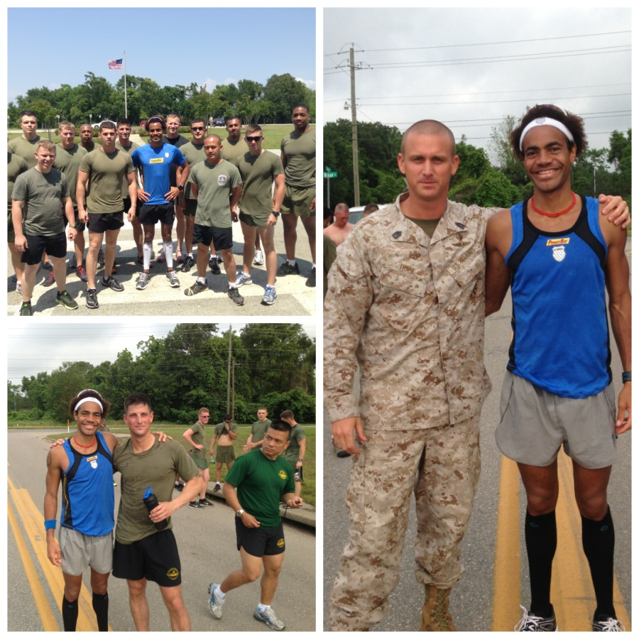 Marines of the 3rd Force Recon Company. Sky & I (on right) & Billy & I (post PFT run)