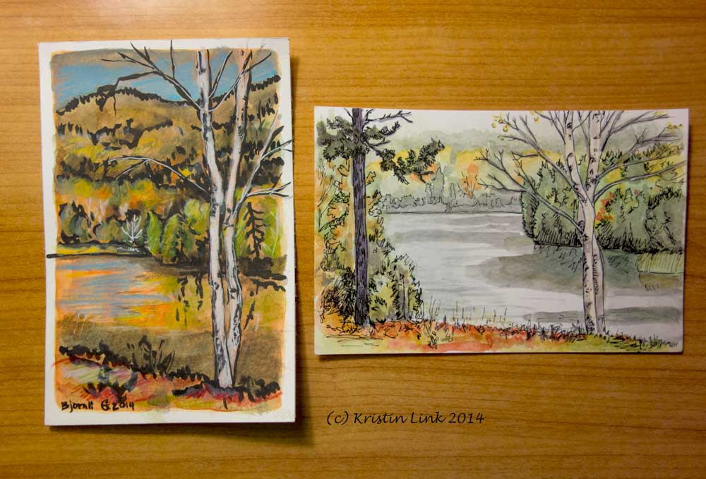 """Left: 6 x 4"""" gouache, pen, and colored pencil. Right: 4 x 6"""" watercolor and pen.  Both (c) Kristin Link 2014"""
