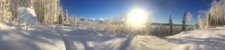 Winter sun on our property at the Nizina River