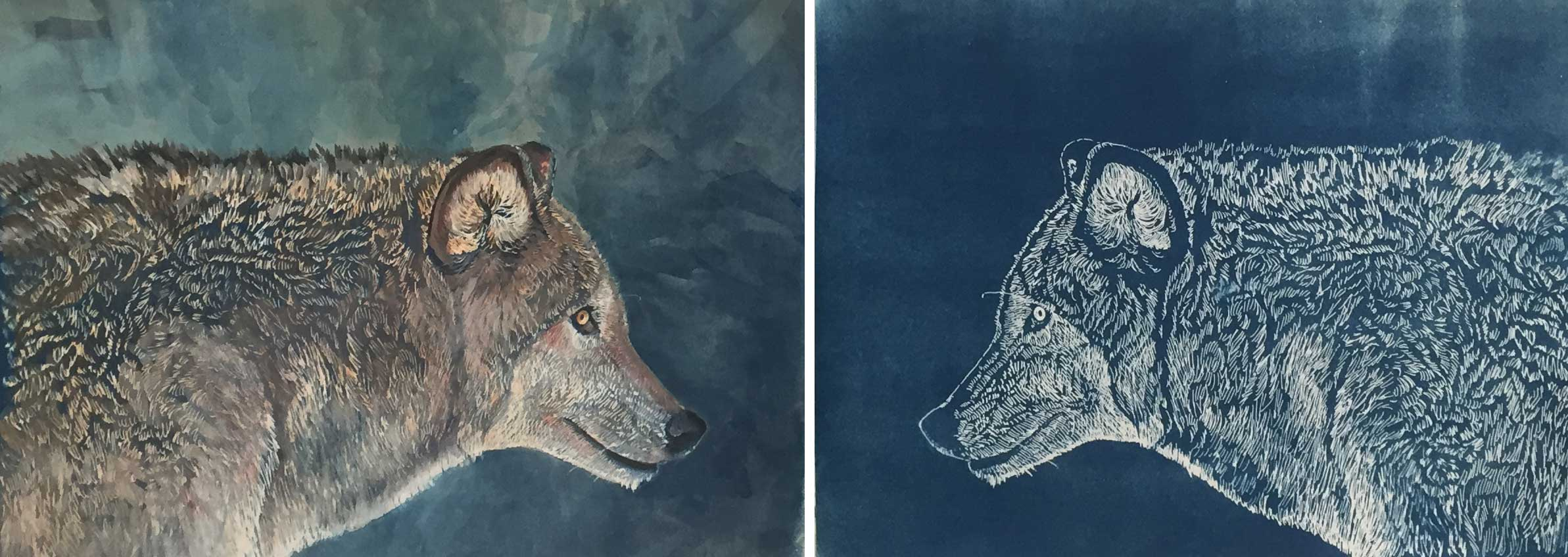 """Wolves. Both are 9 x 12"""" The left image is a print with gouache and colored pencil. The right image is the plain print."""