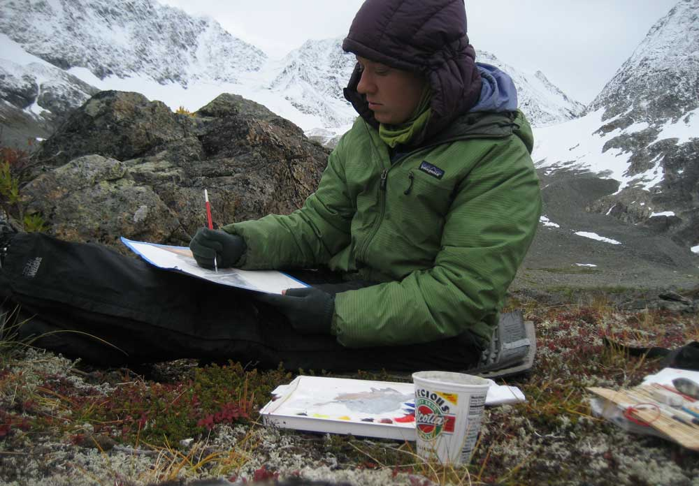 Kristin painting in the mountains by Martin Creek in the Granite Range thanks to the Rasmuson Foundation Individual Artist Awards in 2012. This photo was in mid-September and the first snows were starting to creep down the mountains.