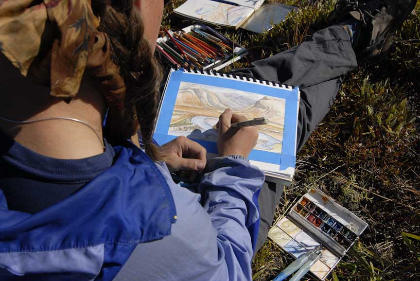 Field sketching on the Noatak in Gates of the Arctic National Park & Preserve. Photo by Richard Kahn