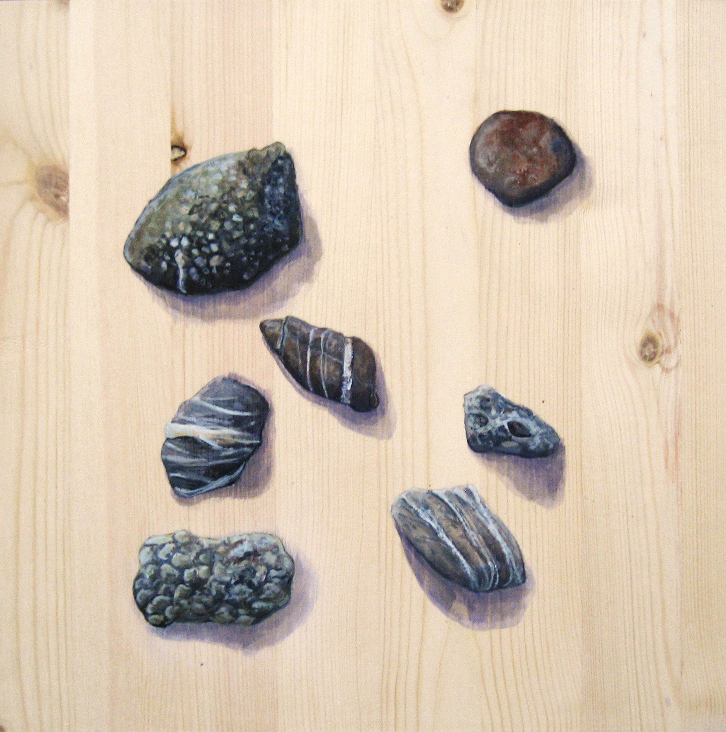 """Noatak Stones, 12 x 12"""" Acrylic on Pine, 2012"""