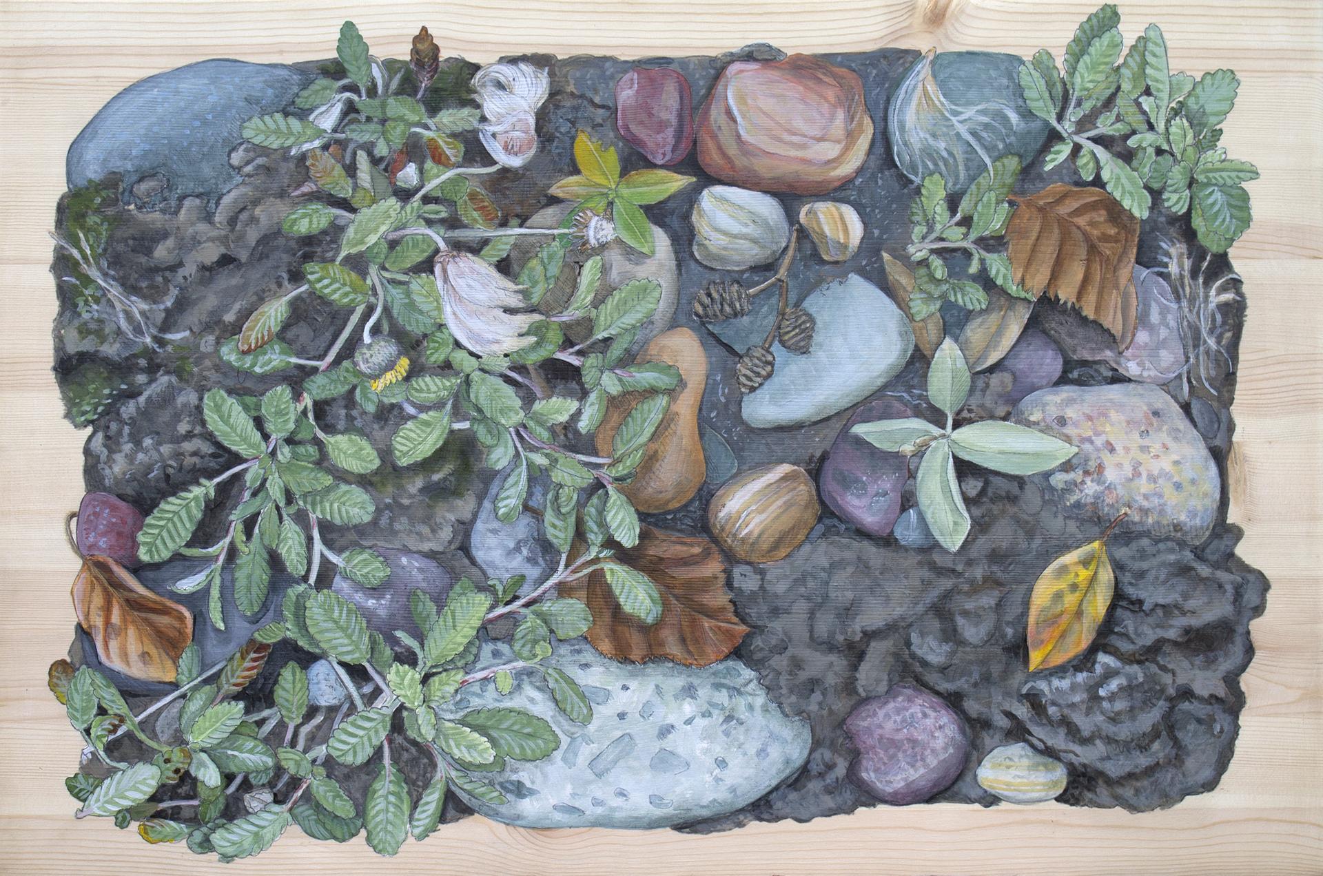 """Nizina River Habitat, 16 x 24"""" Acrylic on Pine panel, 2017"""
