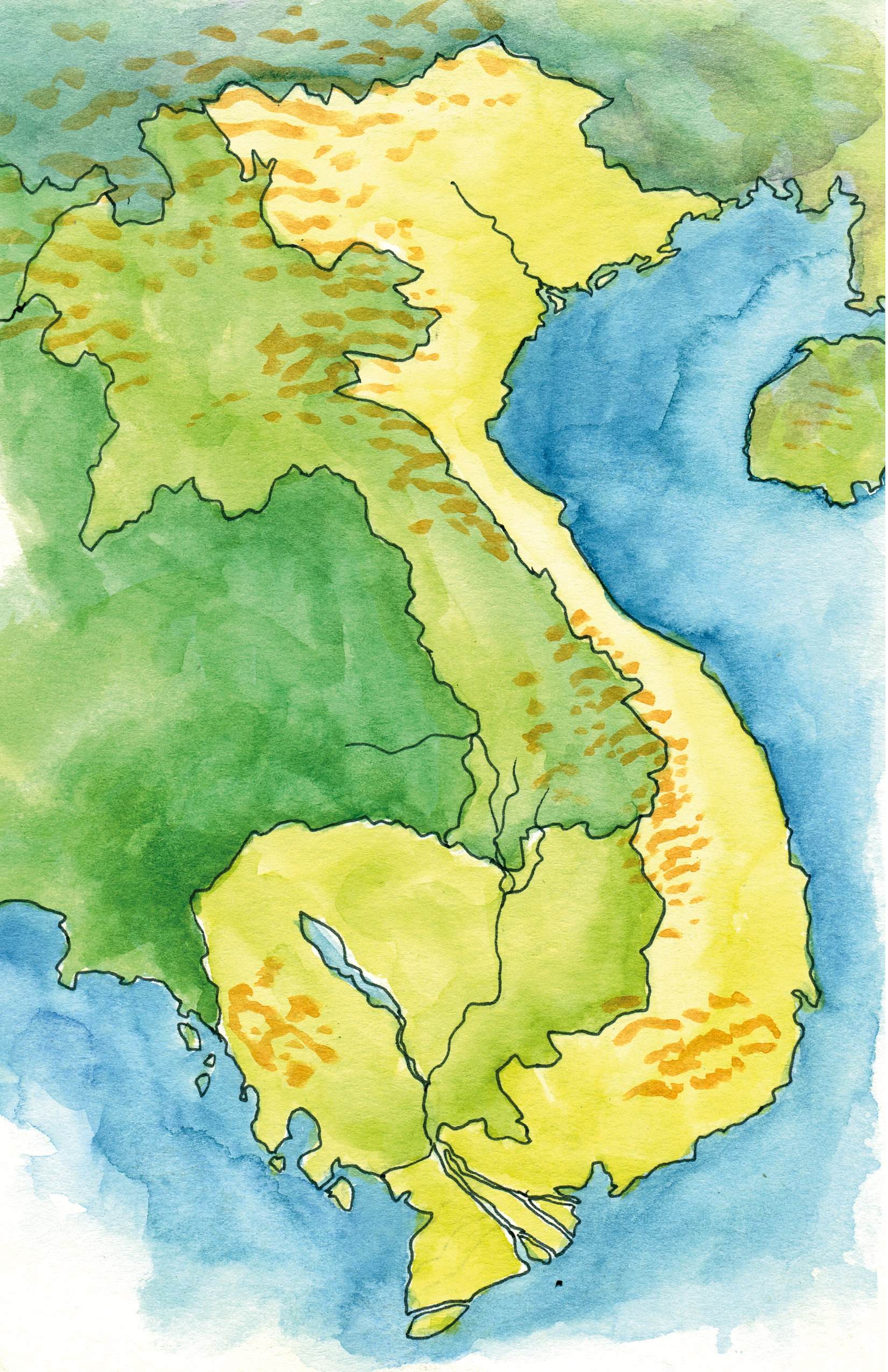 Vietnam and Cambodia Map - I created this map for my sketchbook and colored it in with watercolor. I haven't labeled the places yet because I'm not sure exactly where we are going. I plan to fill that information in as I travel. You can see that I highlighted Vietnam and Cambodia, the two countries I'll be visiting. I also included some of the basic geography such as where the mountains are, and some of the rivers near where I am going.