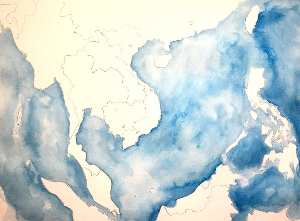 4 - Watercolor wash for water