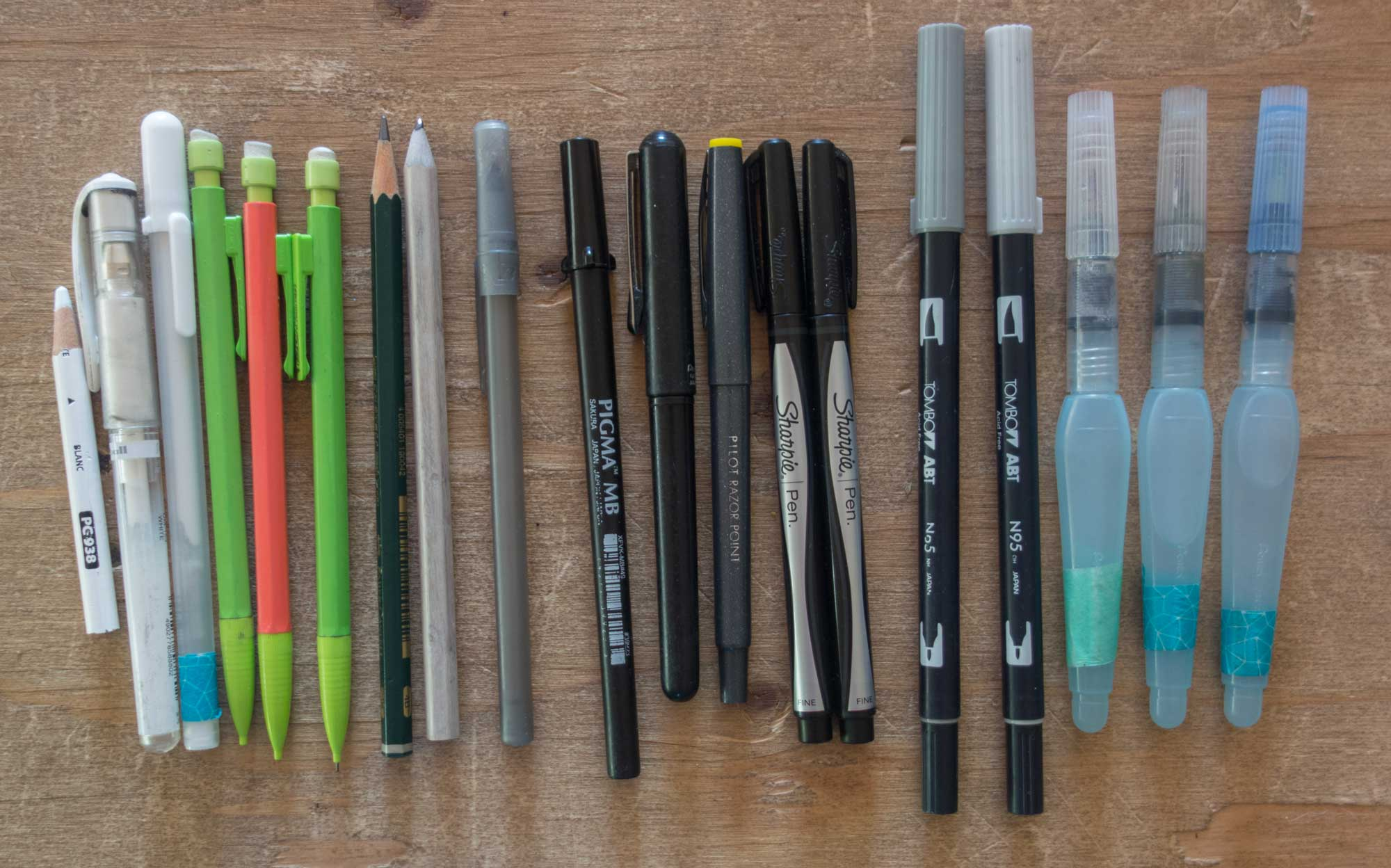 Favorite pens, pencils, and brushes