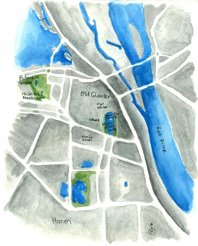 Above: Sketch map of Hanoi, Vietnam