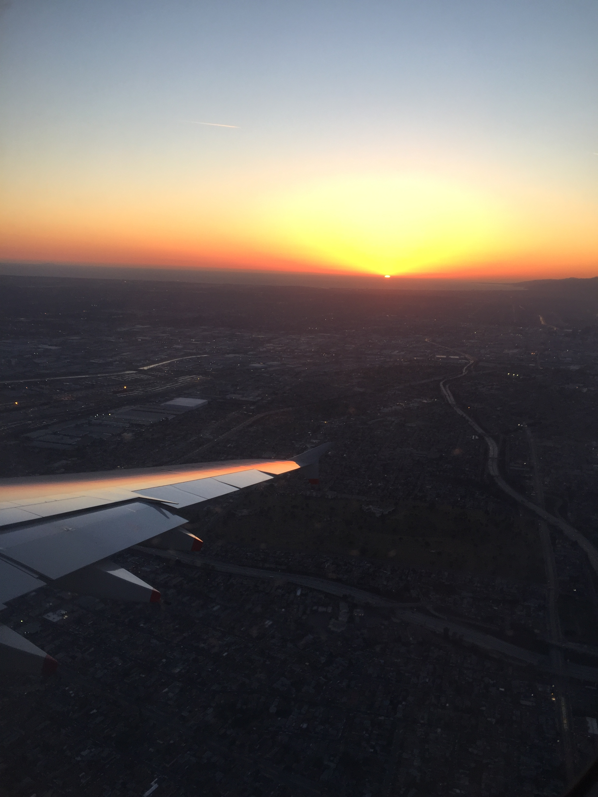 Landing at LAX during the sunset. This was my return flight