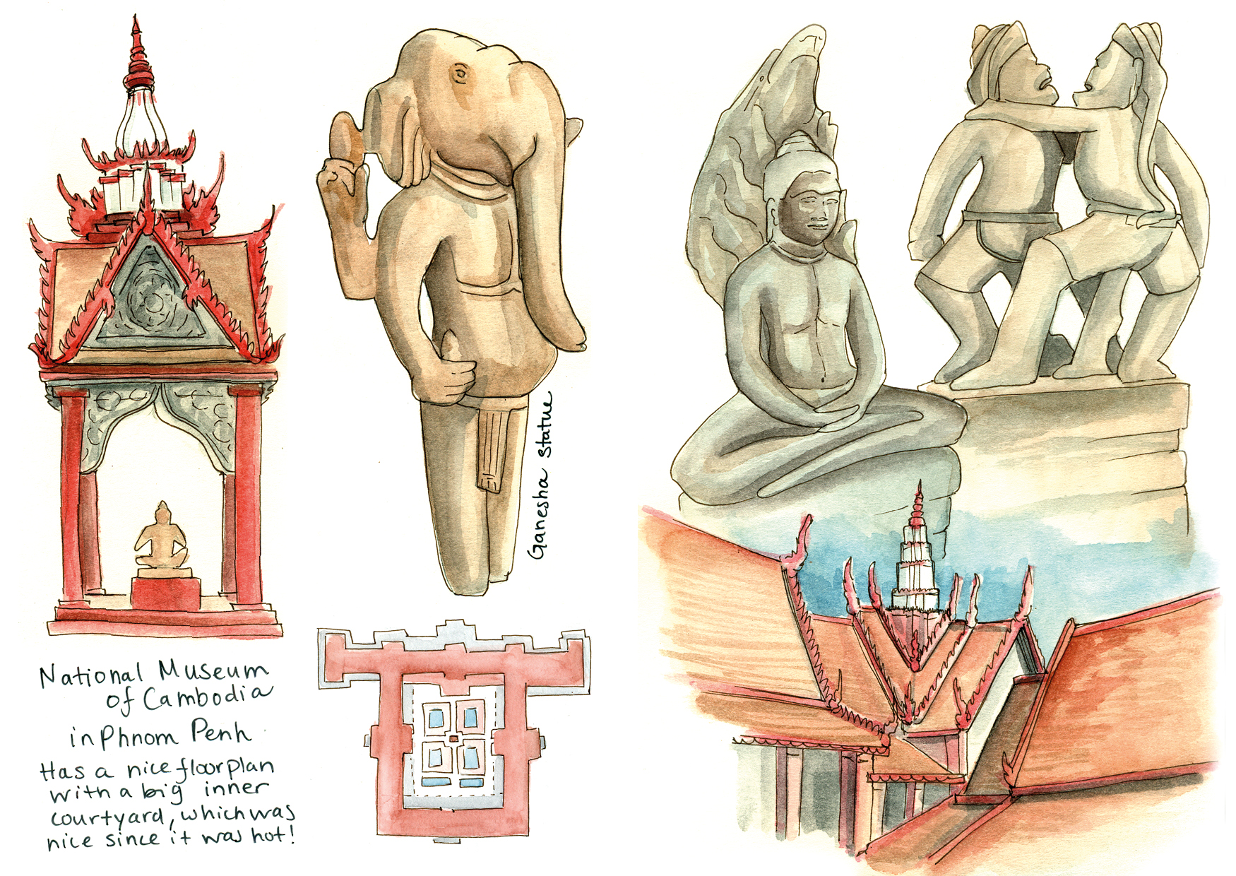 Sketchbook spread from the National Museum of Cambodia