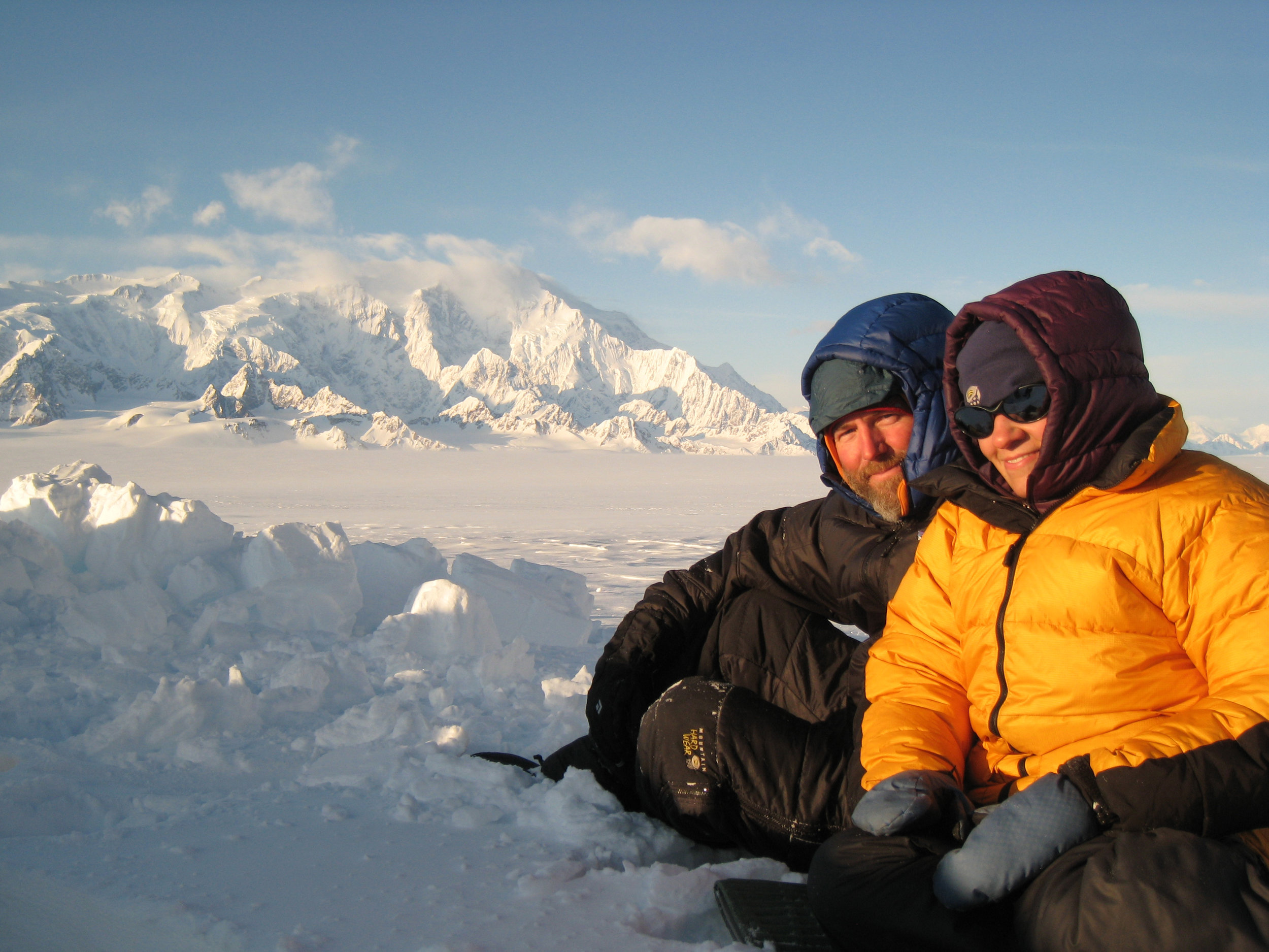 Greg and me sitting in front of Mt Logan, once the sun finally came out.