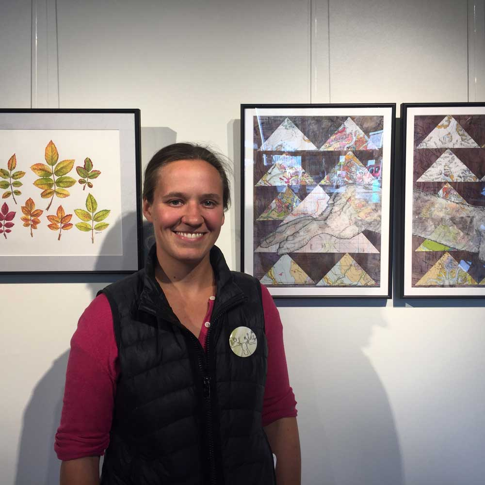 Me in front of my artwork at the opening