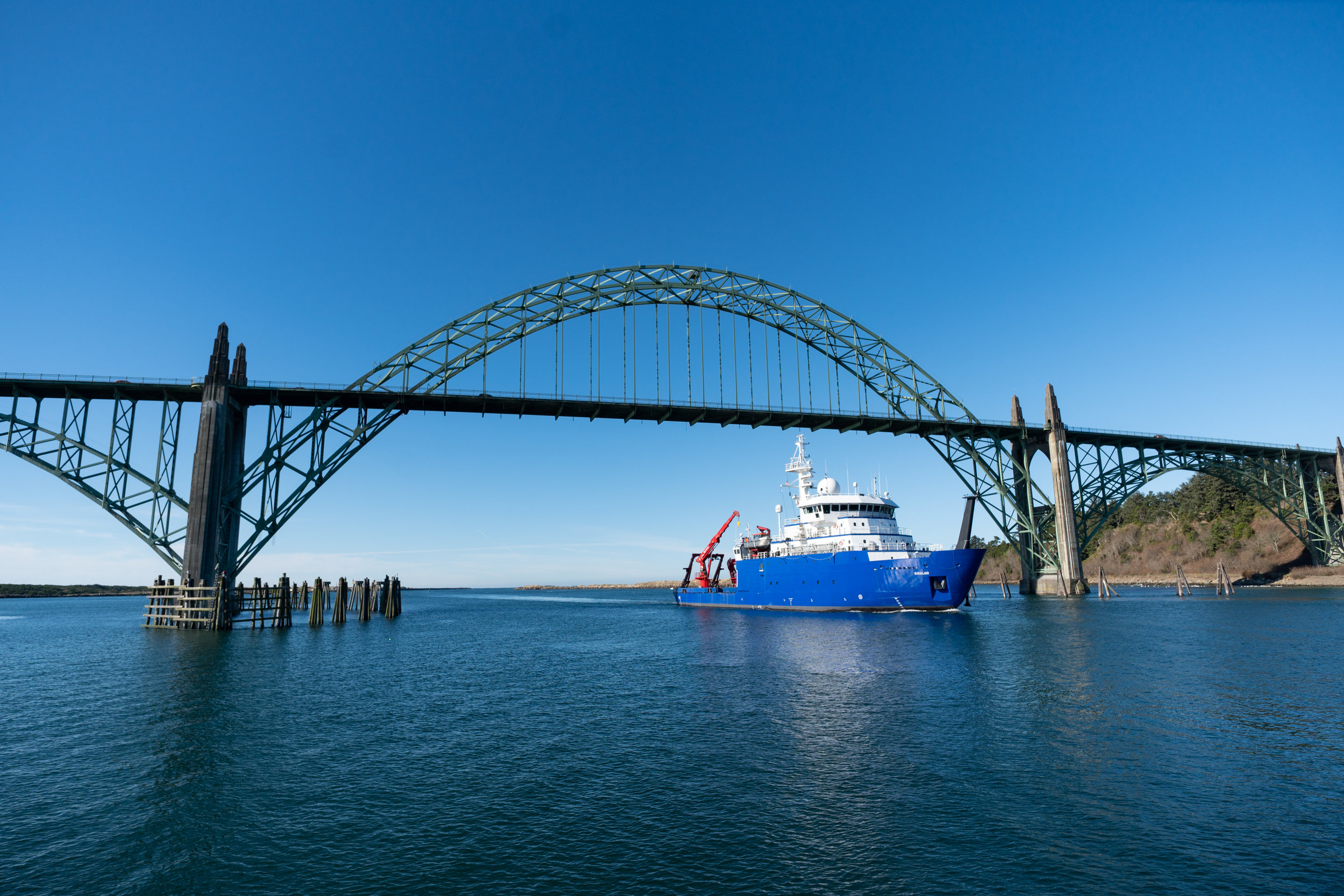Home for a while - The R/V Sikuliaq sailing into Newport, OR    Photo by Mark Farley at the Hatfield Marine Science Center