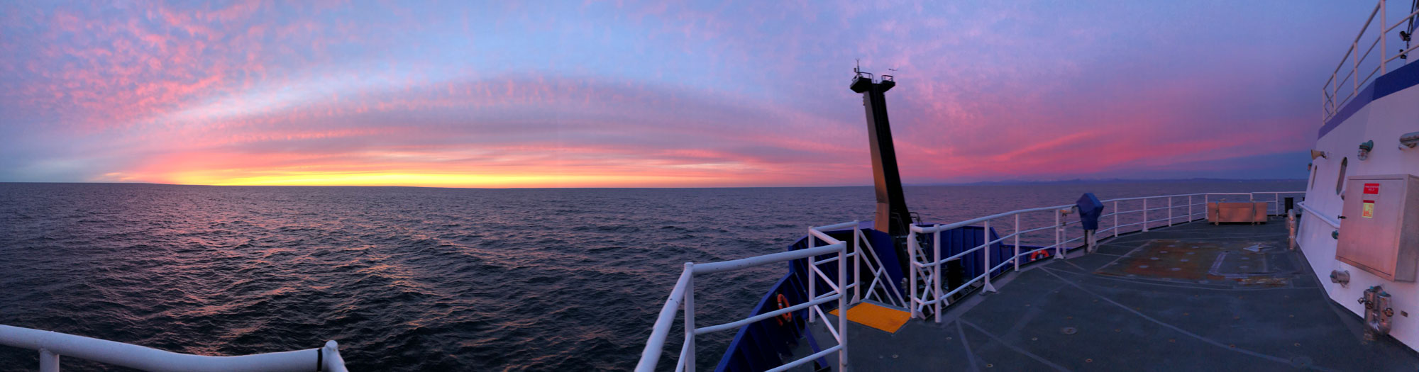 Sunset off the bow