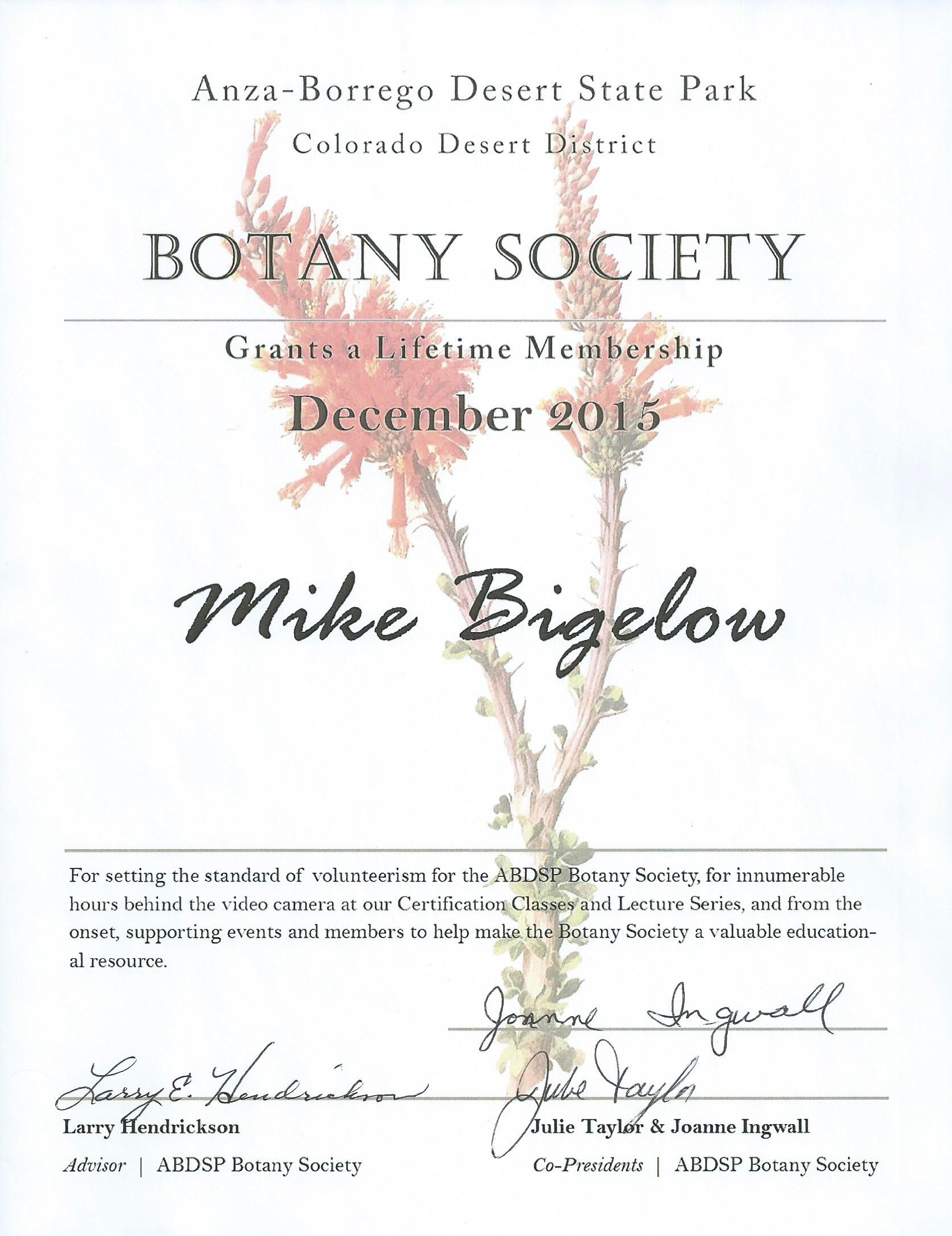 Click on the certificate to see a larger image.