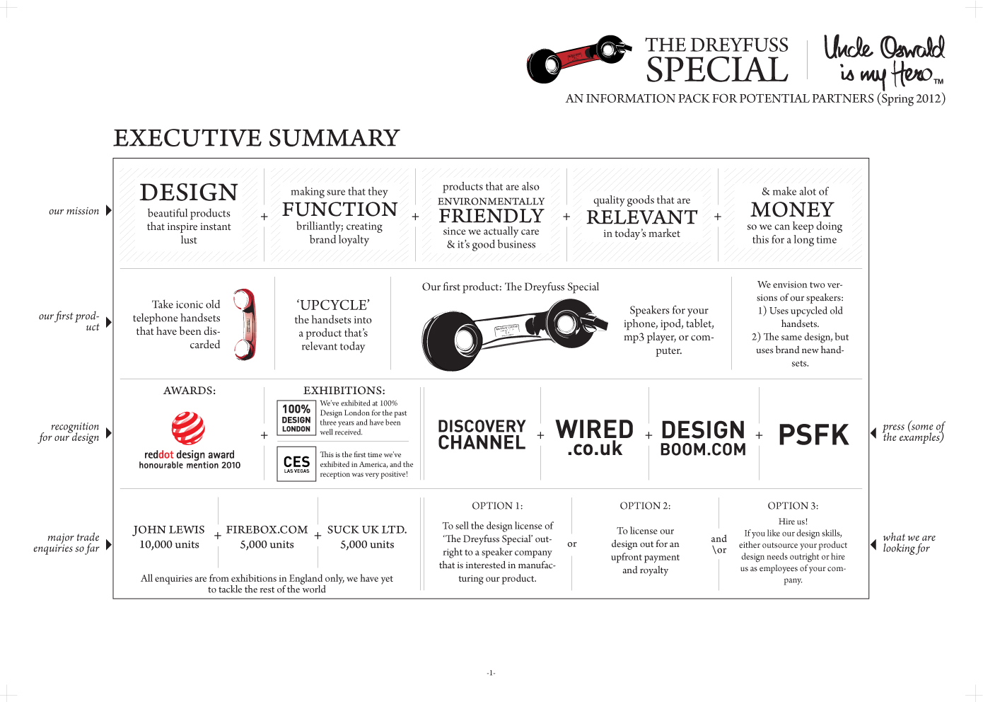 A sample page from the investor presentation I designed.  Click to view a larger version.