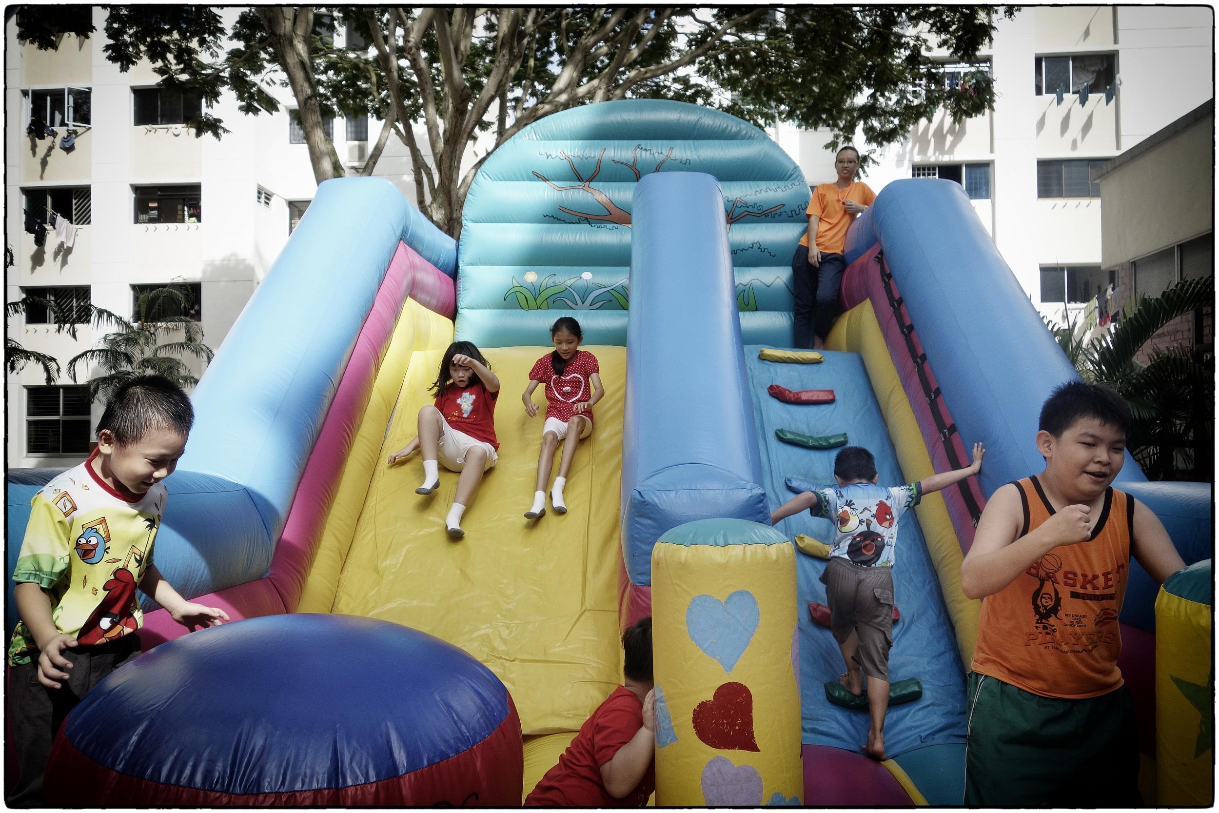 Bouncy slide fun in Serangoon Central.