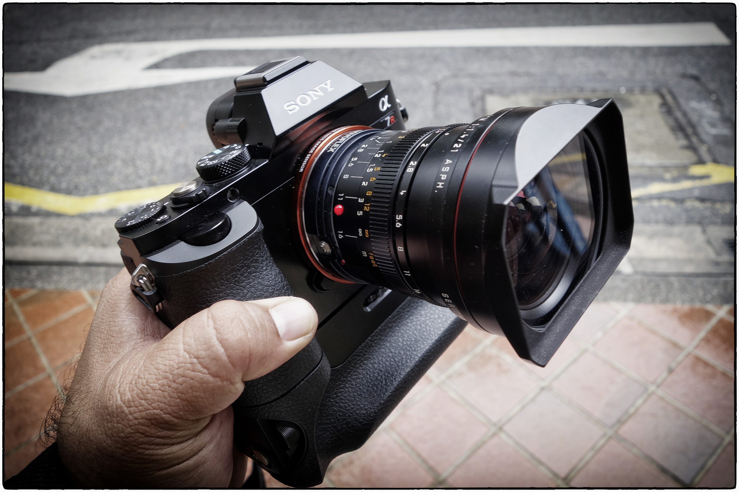 The Sony A7R with a Novoflex M to NEX mount and a Leica 21mm Summilux