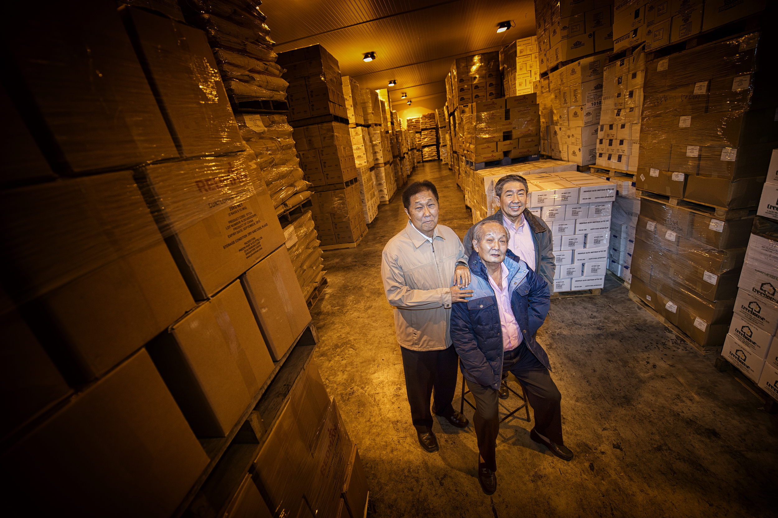 All in the family business are(L-R) Wong Chen Liong, brother Wong Chen Keng and nephew John Wong, who help run Phoon Huat. The company, best known for its Redman syrups in its early days, has expanded its product range to include marzipan from Norway and glazing gel from Belgium.