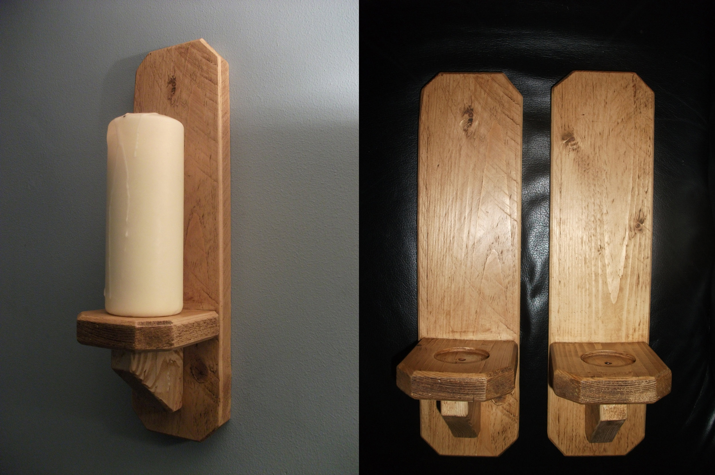 Recycled Pine Candle Sconces