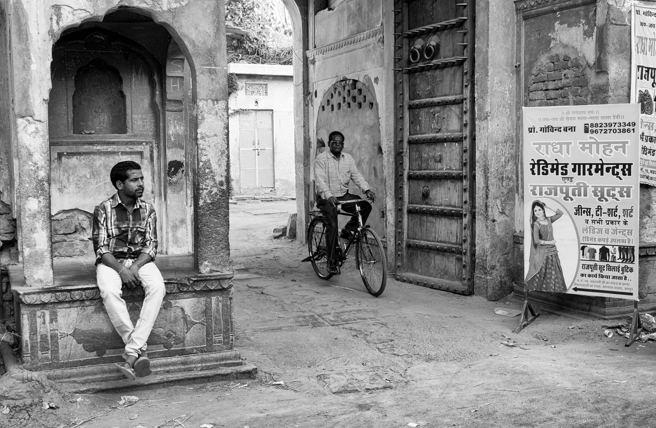 Man Sitting with Other Man on Bicycle on Streets of Jaipur in Black and White - Jaipur, India - Copyright 2016 Ralph Velasco.jpg