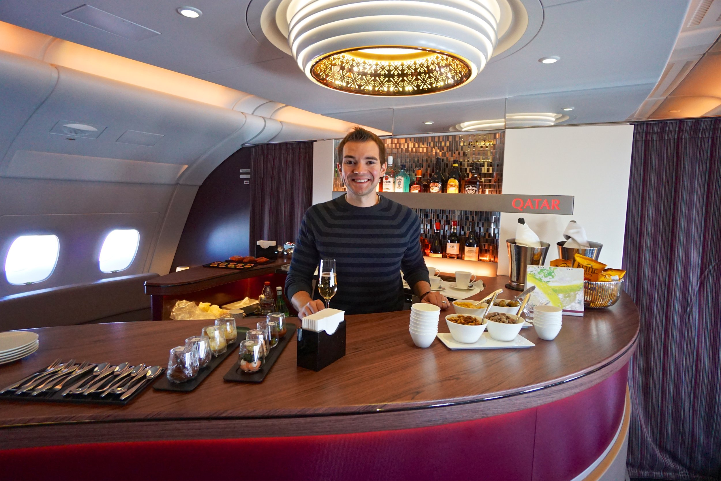 Qatar A380 Bar (DOH - CDG) November 2016.jpg