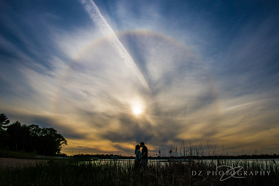 Anna & Ryan in front of a beautiful Sun halo!