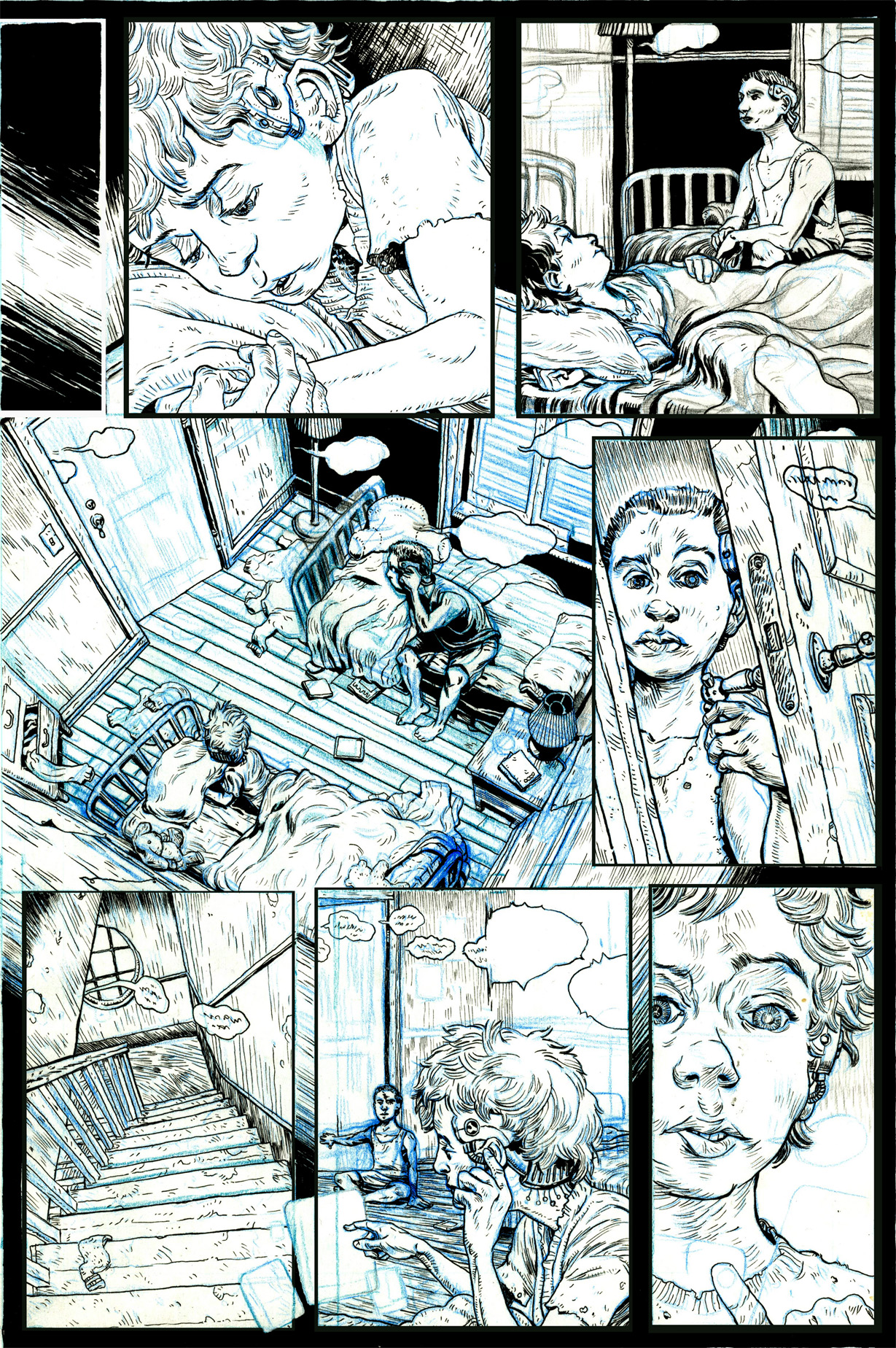 The first page complete with blue pencil and unfilled in blacks.