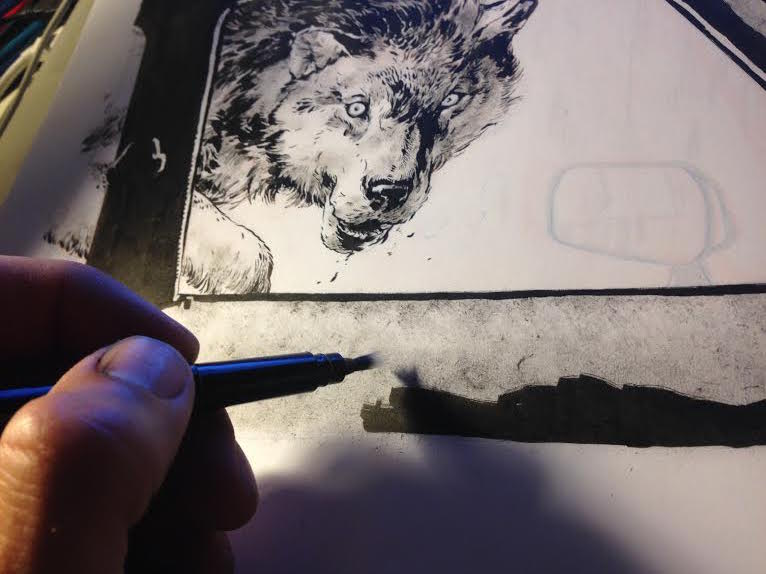 When inking the wolf fur and car interior, I used a fresh Pentel brush pen for the contours and hard edges and a dry, almost empty Pentel to explore shading on the wolf and interior texture.