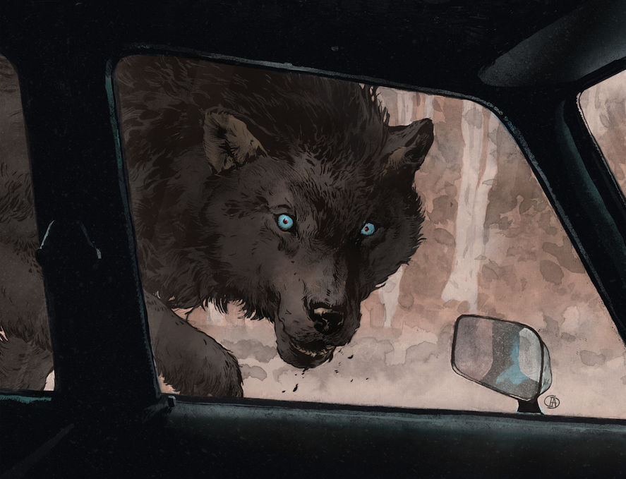 Digital coloring with special attention paid to the wolf's described bright blue eyes.