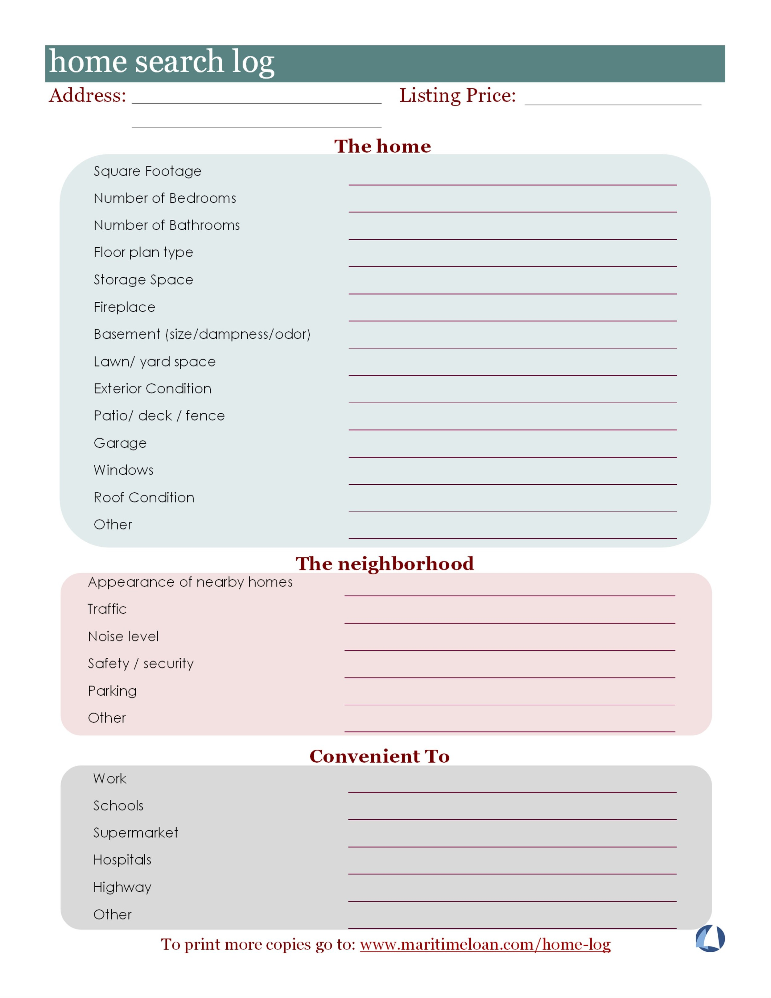 Click on the log or the download button to download this log. Use the log to help you stay organized while searching for homes.