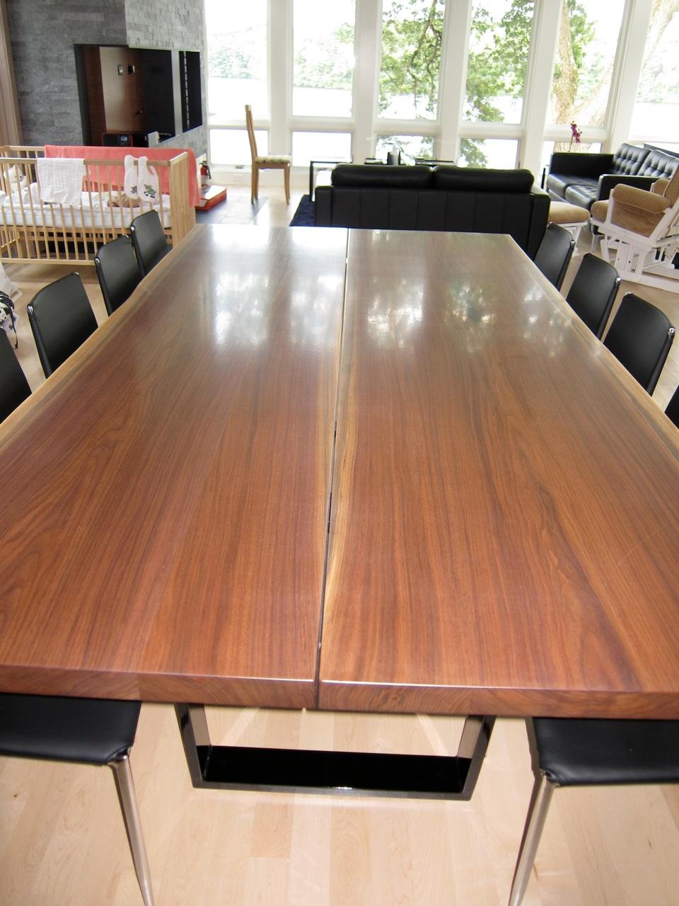 Eastern Black Walnut book-matched slab tabletop