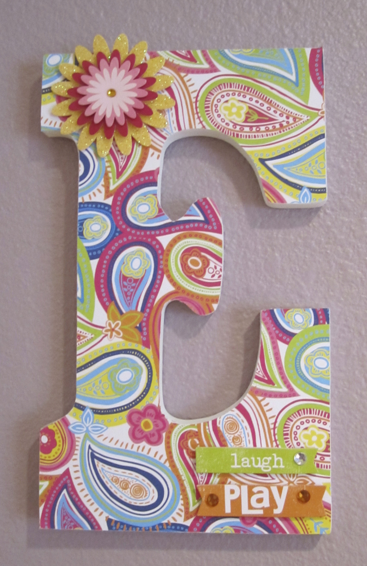 Soft Spoken Embellishments me & my BIG ideas wooden paper covered letters tutorial