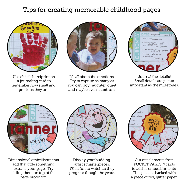Tips for creating memorable childhood pages using POCKET PAGES™ from me & my BIG ideas
