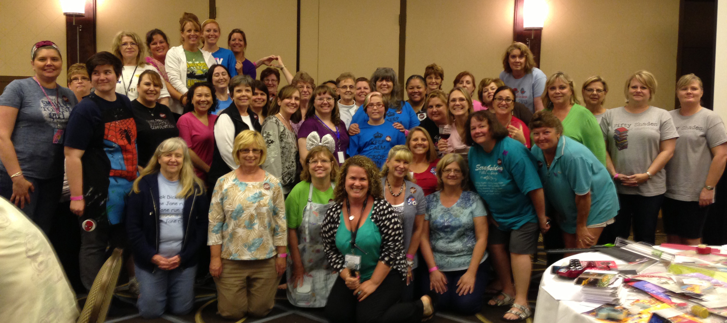 Great American Scrapbook Convention GASC crop night Arlington Texas midnight crop group photo mambi me & my BIG ideas