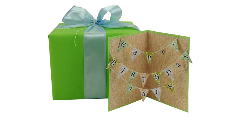 Banner Gift How to Tutorial mambi me & my BIG ideas blog happy birthday card. Make your card match your gift. I love that.