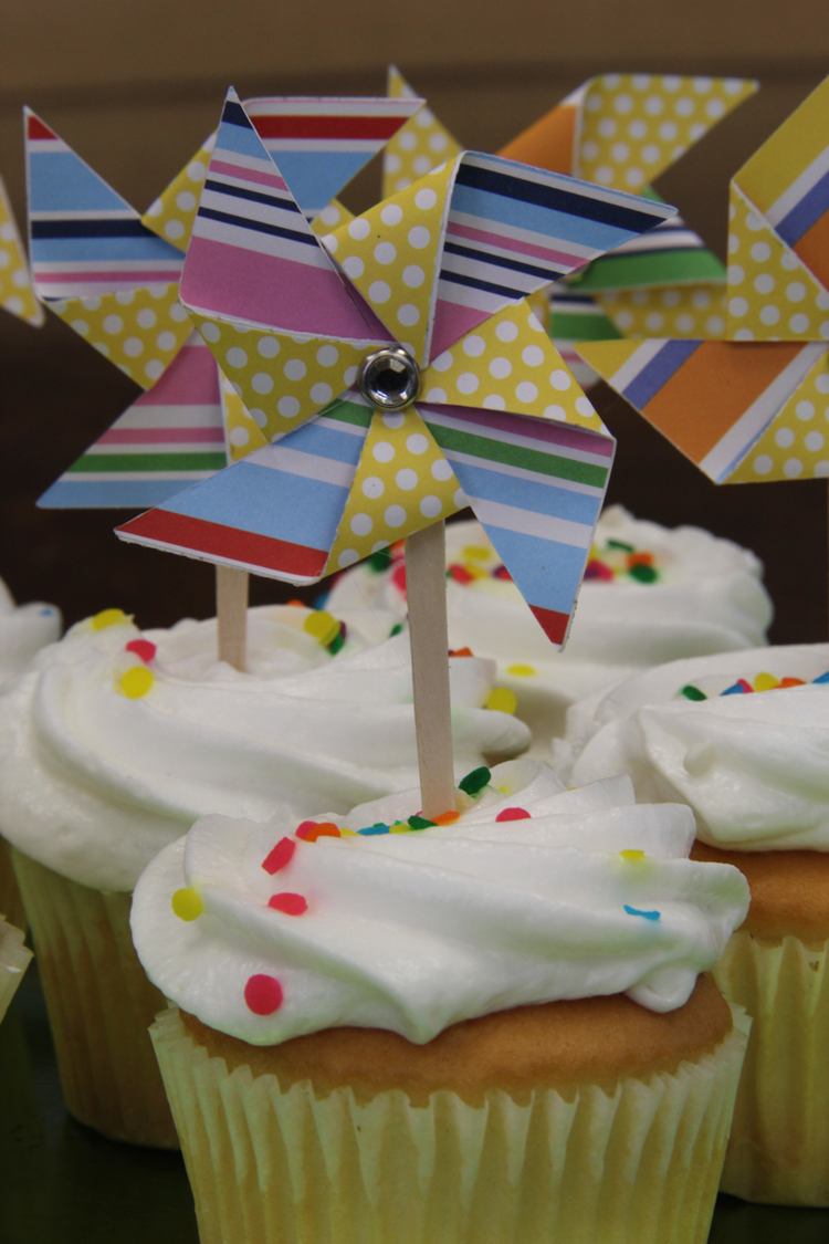 """I used a square punch that was 1 7/8"""" to cut my squares but you can choose any size you like.  How to make pinwheel cupcake toppers with me & my BIG ideas paper"""