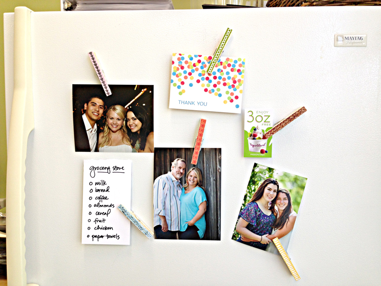 How to make decorative, paper covered clothespin magnets with paper from me & my BIG ideas.