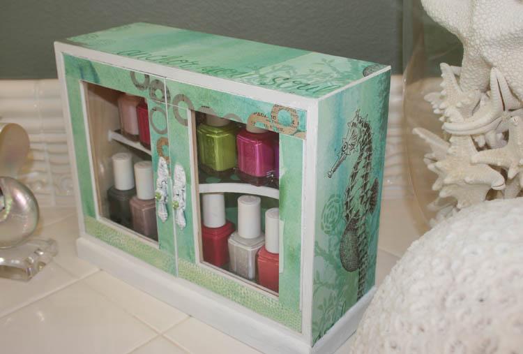 DIY Nail Polish Cabinet, me & my BIG ideas paper. Hobby Lobby wooden cabinet. mambi blog.