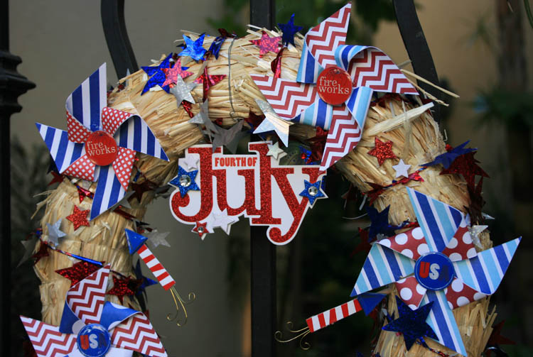 DIY 4th of July wreath using me & my BIG ideas soft spoken embellishments, pocket pages cards and a wreath from Michaels. Simple & festive. mambi.
