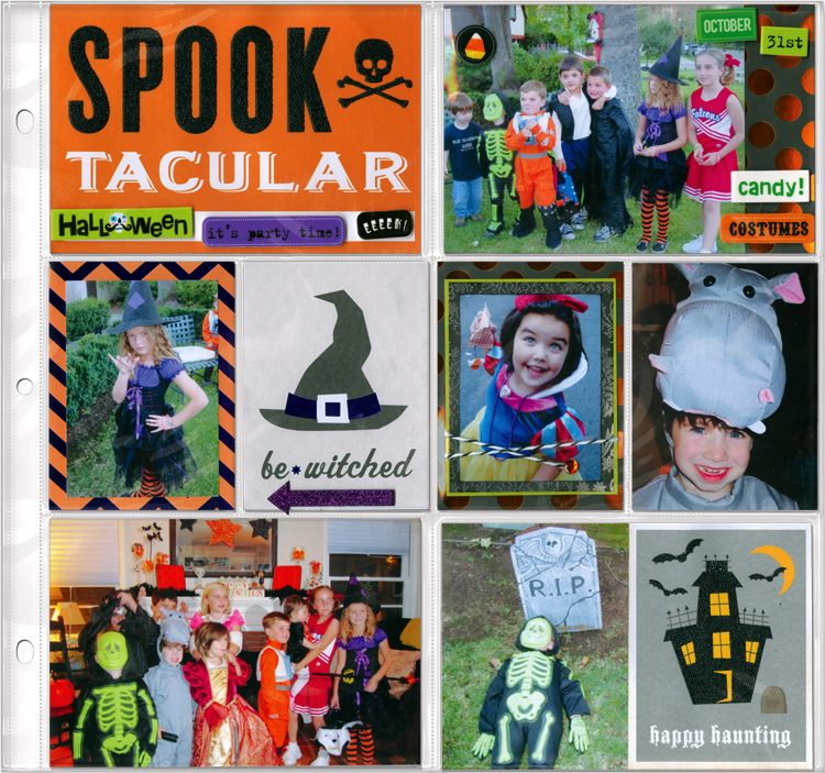 Halloween Costume Party Scrapbook layout mambi blog page. me & my BIG ideas Products available at Michaels craft stores.